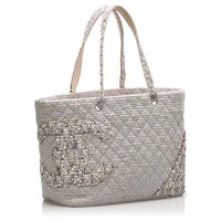 Chanel Grey Tweed Cloth Tote Bag Angle2