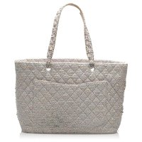 Chanel Grey Tweed Cloth Tote Bag Angle4
