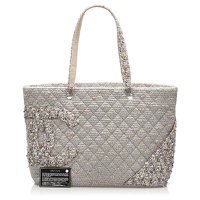 Chanel Grey Tweed Cloth Tote Bag Angle11