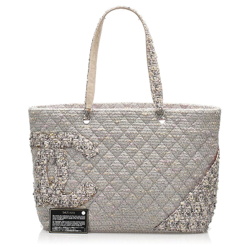Chanel Grey Tweed Cloth Tote Bag