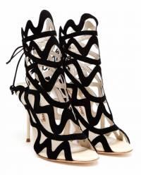 Sophia Webster Black Suede Cutout Peep-toe Sandals Angle1