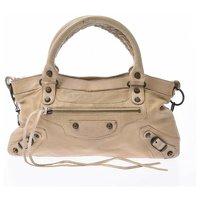 Balenciaga Leather Hand Bag In Beige