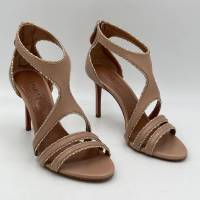 Alaia Beige Crystal Embellished Cut-Out Sandals Angle7