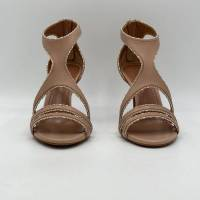Alaia Beige Crystal Embellished Cut-Out Sandals Angle3