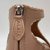 Alaia Beige Crystal Embellished Cut-Out Sandals Angle4