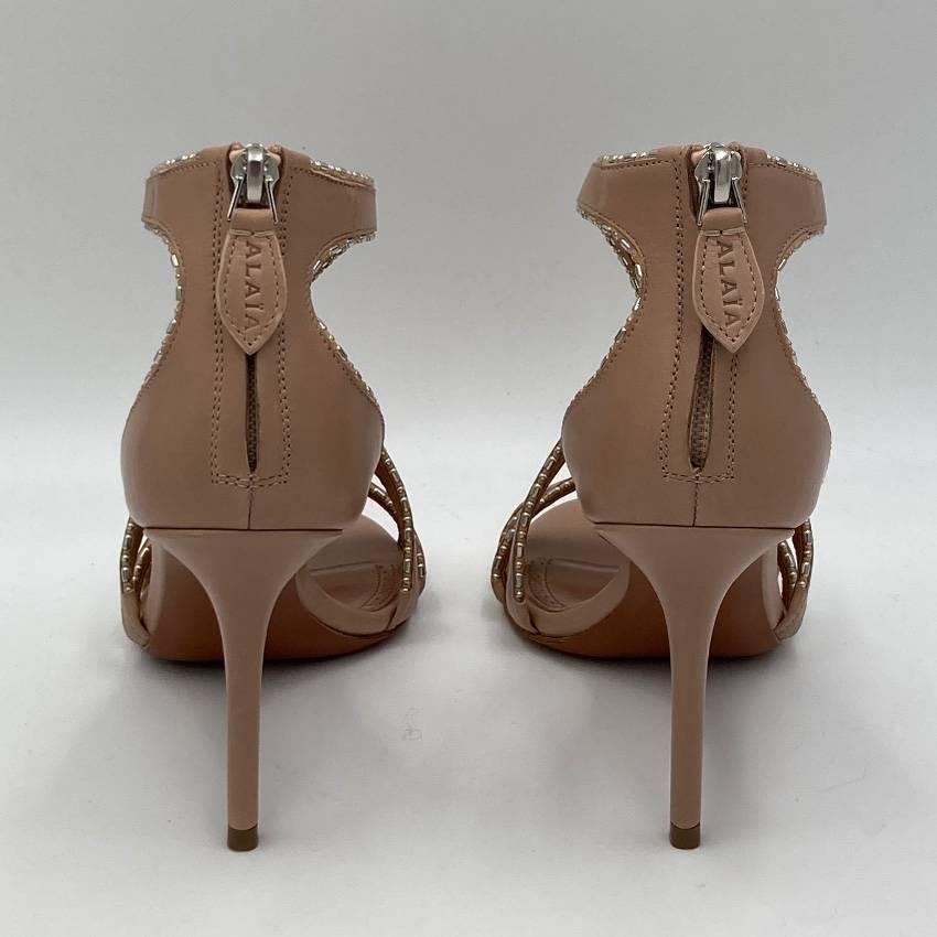 Alaia Beige Crystal Embellished Cut-Out Sandals