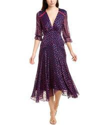 Saloni Silk blend Midi Short Casual Dress