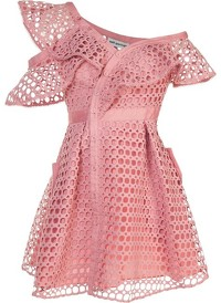 Pink Lace Mini Cocktail Dress by Self Portriat