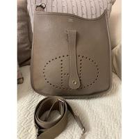 Leather Taupe Shoulder Bag by Hermès
