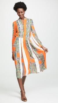 Tory Burch Multi Color Dress With Mandarin Collar