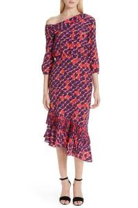 Saloni Dress With One-Shoulder Neckline
