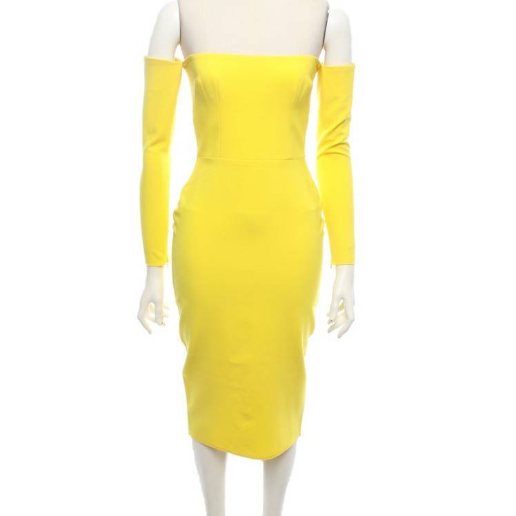 Alex Perry Off shoulder Dress In Yellow