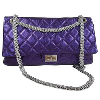 Chanel Classic Flap Bag Leather With Sliver Chain
