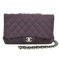 Chanel Classic Flap Bag Cotton in Violet