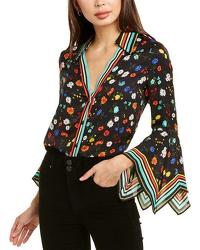 Alice And Olivia Randa Top With Trumpet Sleeves