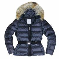 Moncler Blue Angers Fur Trimmed Down Hooded Jacket