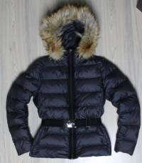 Moncler Blue Angers Fur Trimmed Down Hooded Jacket Angle2