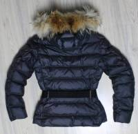 Moncler Blue Angers Fur Trimmed Down Hooded Jacket Angle3