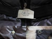 Moncler Blue Angers Fur Trimmed Down Hooded Jacket Angle5