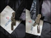 Moncler Blue Angers Fur Trimmed Down Hooded Jacket Angle6