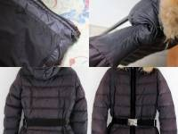 Moncler Blue Angers Fur Trimmed Down Hooded Jacket Angle9