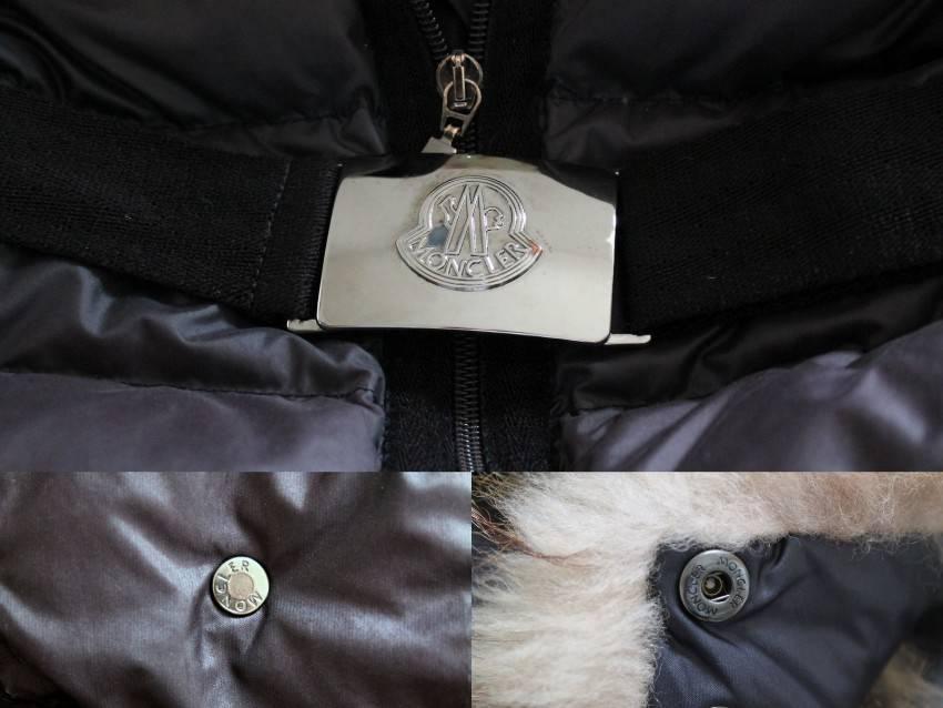 Moncler Blue Angers Fur Trimmed Down Hooded Jacket