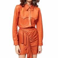Isabel Marant Leather Cognac Western Shirt