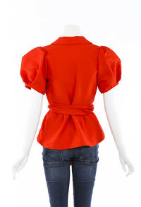 Rosie Assoulin Red Top With Puff Sleeves Angle2