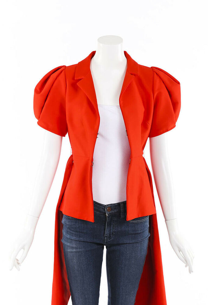 Rosie Assoulin Red Top With Puff Sleeves