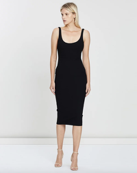 Alex Perry Black Stretch Singlet Dress