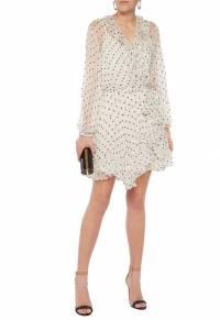 Zimmermann Ivory Polka Dot Silk Crepe Mini Dress