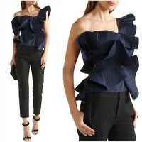 Johanna Ortiz One-Shoulder Ruffled Top