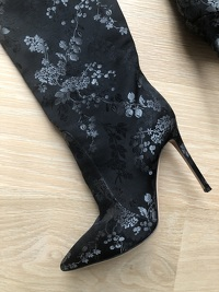 Black floral silk over the knee boots Angle2