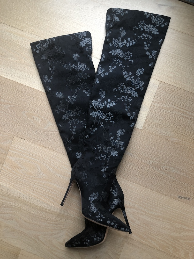 Black floral silk over the knee boots