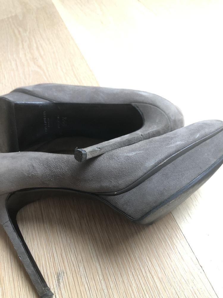 Grey suede YSL platform pumps