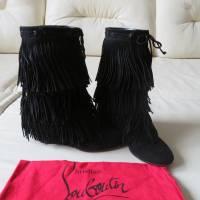 Christian Louboutin Pina Flat Fringe Black Boots