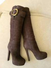 Gucci Josephine Brown Nubuck Horseheads Boots