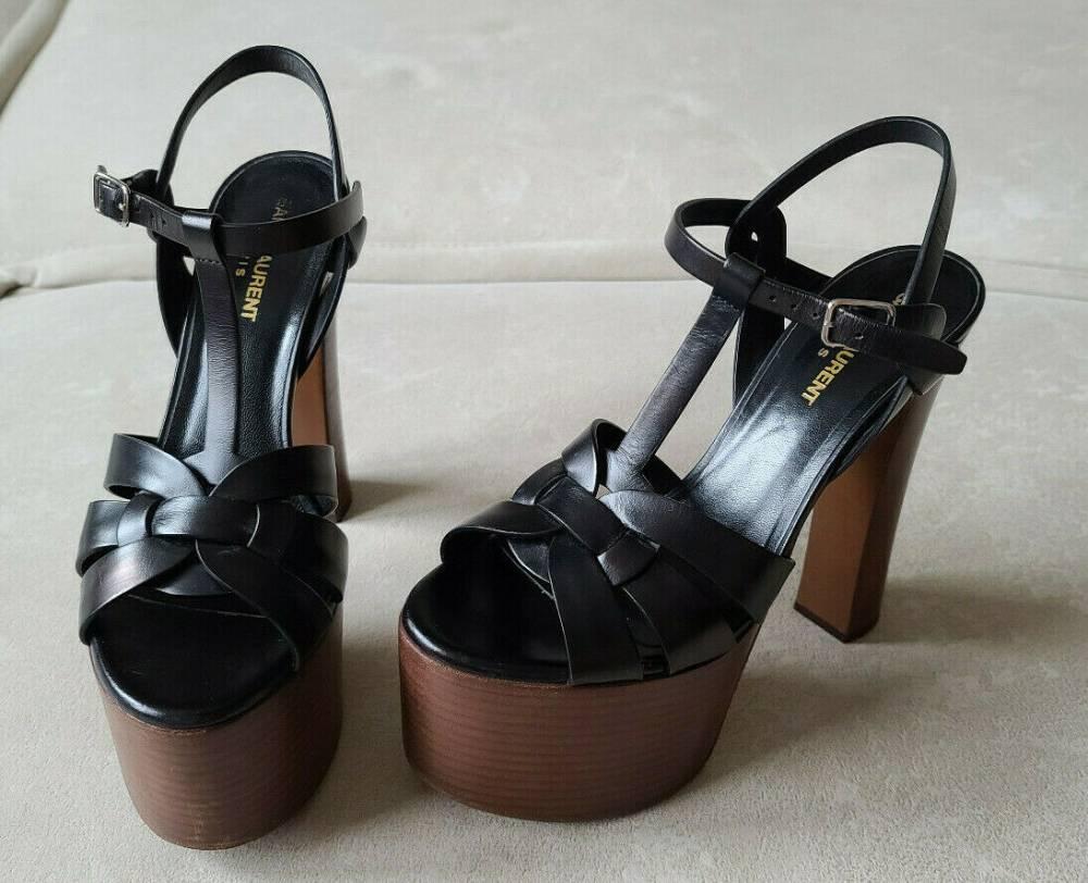 YSL Yves Saint Laurent Wood Platform Sandal