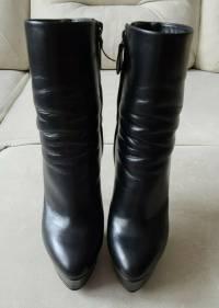 Casadei Blade Black Leather Platform Ankle Boots  Angle4