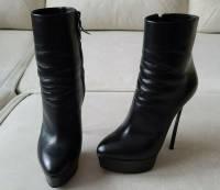 Casadei Blade Black Leather Platform Ankle Boots  Angle6