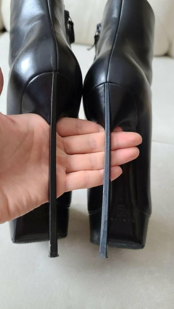Casadei Blade Black Leather Platform Ankle Boots