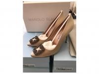 Manolo Blahnik 2020 Heels Silk Cream Angle2