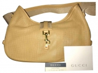 Gucci Canvas bag with preforated leather