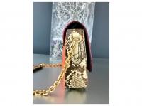 MCM Snakeskin shoulder bag with gold chain Angle7