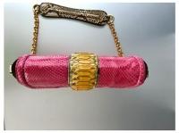 MCM Snakeskin shoulder bag with gold chain Angle8