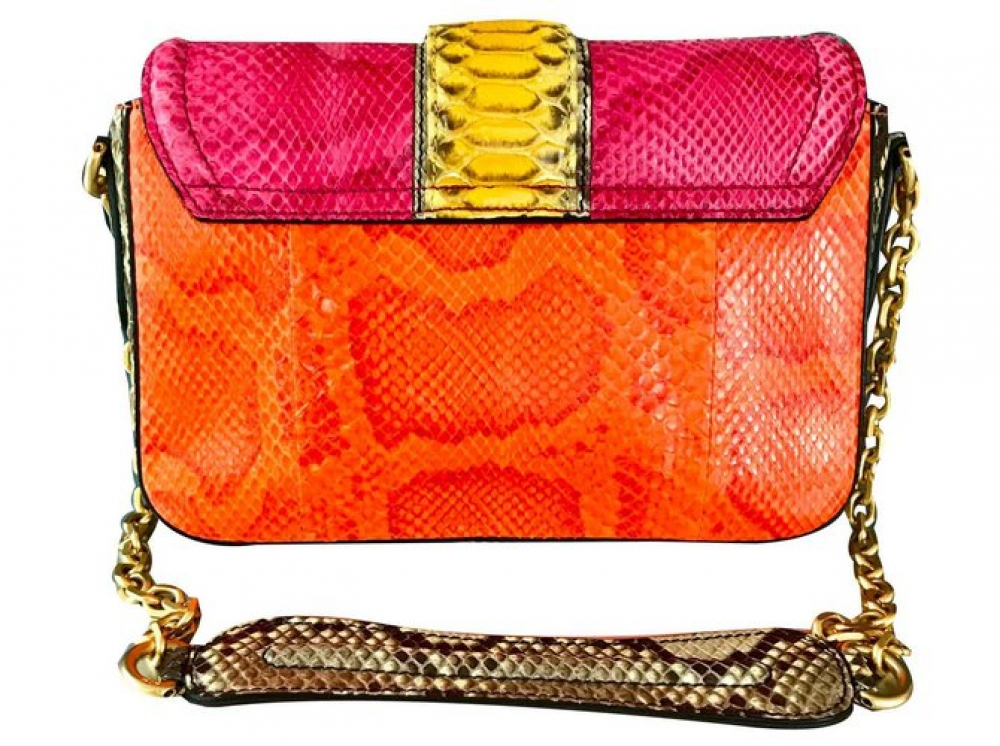 MCM Snakeskin shoulder bag with gold chain
