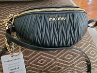 Leather matelasse belt bag