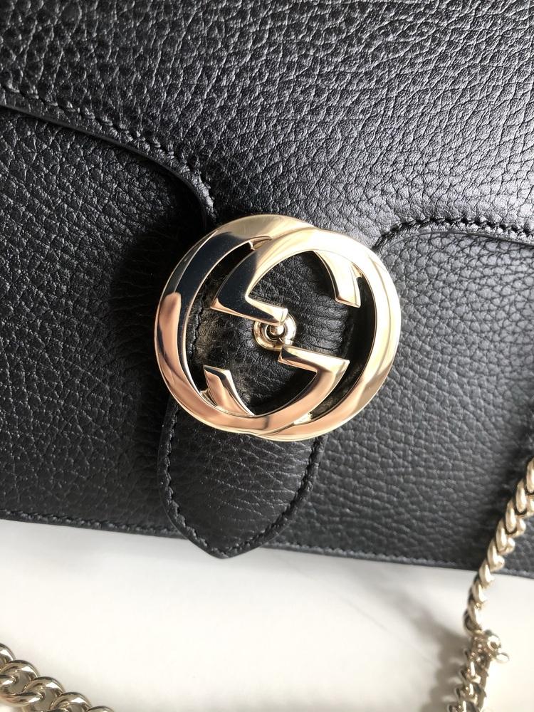 Interlocking Calfskin Shoulder Bag