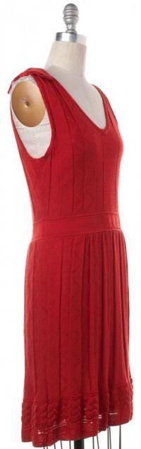 V-Neck Sheath Knit Wool Dress- M MISSONI Angle2