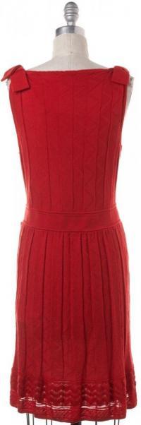 V-Neck Sheath Knit Wool Dress- M MISSONI Angle3